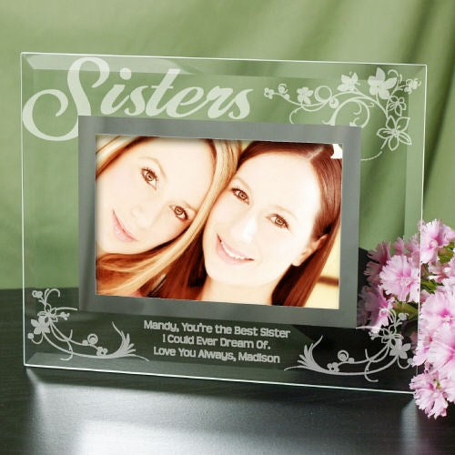 "Engraved Sister Glass Picture Frame - 5"" x 7"""