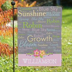 Personalized Spring Words Garden Flag- One Sided Flag