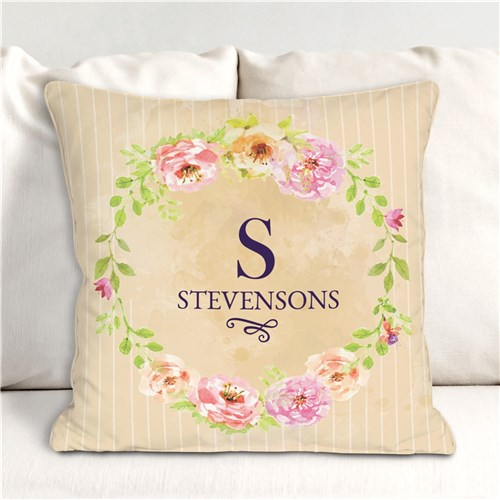 Personalized Floral Spring Throw Pillow 14''