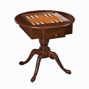 Elegant Round Chess, Checkers, and Backgammon Table