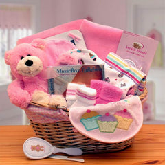 Simply The Baby Basics New Baby Gift Basket- Pink