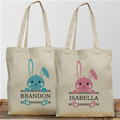 Personalized Easter Bunny Tote Bag-Blue