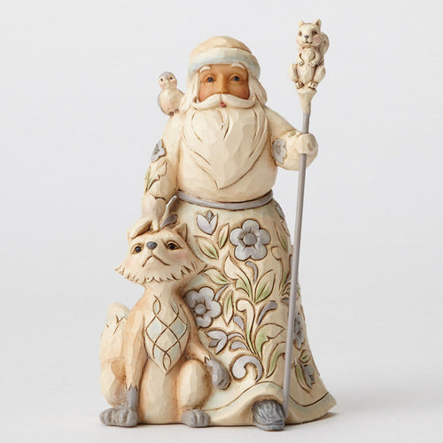 White Woodland Santa with Fox