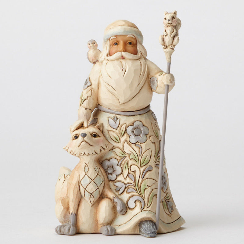 "White Woodland Santa with Fox ""Gracious Giving to All"""