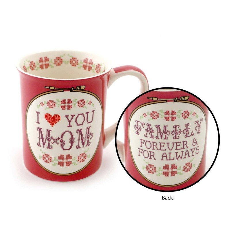 I Heart You Mom Crosstitch Mug