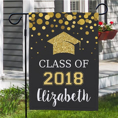 Personalized Class Of...Glitter Gold Garden Flag - One Sided