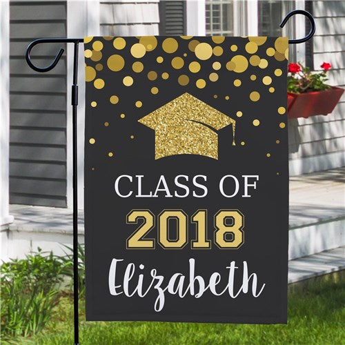 Personalized Class Of...Glitter Gold Garden Flag - Double Sided