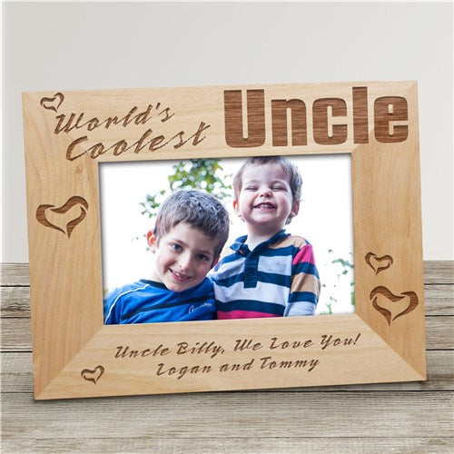 "World's Coolest Uncle Personalized Wood Picture Frame - 4"" x 6"""