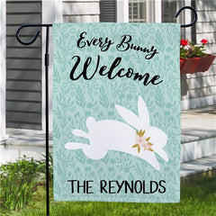 Personalized Every Bunny Welcome Garden Flag-One Sided Flag