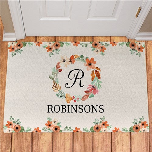 "Personalized Watercolor Floral Wreath Doormat  24"" x 36"""