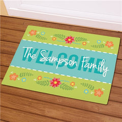 Personalized Spring Welcome Fleece Doormat