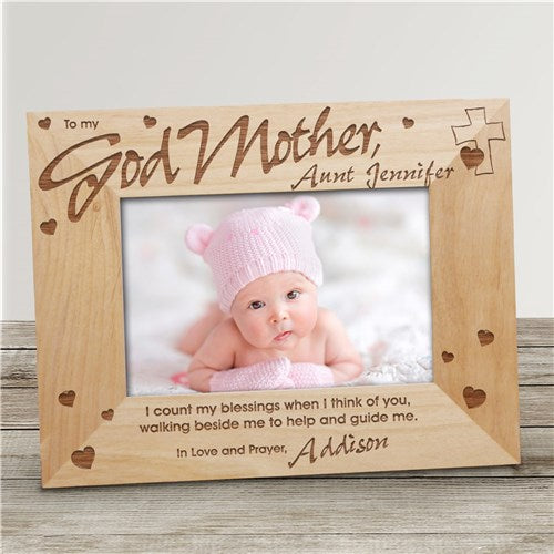 "Godmother Personalized Wood Frame - 8"" x 10"""