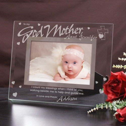 "Godparent Glass Personalized Picture Frame - 5"" x 7"""