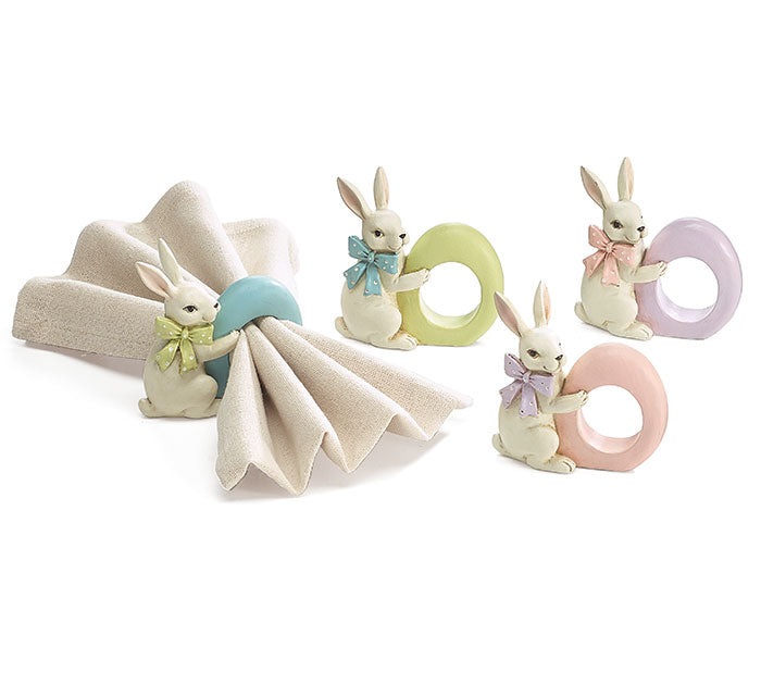 Easter Rabbit Resin Napkin Ring (Set Of 4)