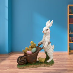 Resin Bunny With Egg Cart Figurine