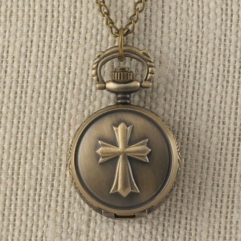 Bronze Cross Mini Necklace Watch