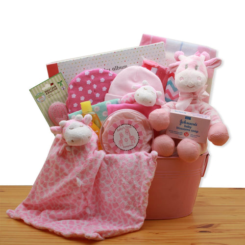 Comfy & Cozy Safari Friends New Baby Gift Basket- Pink