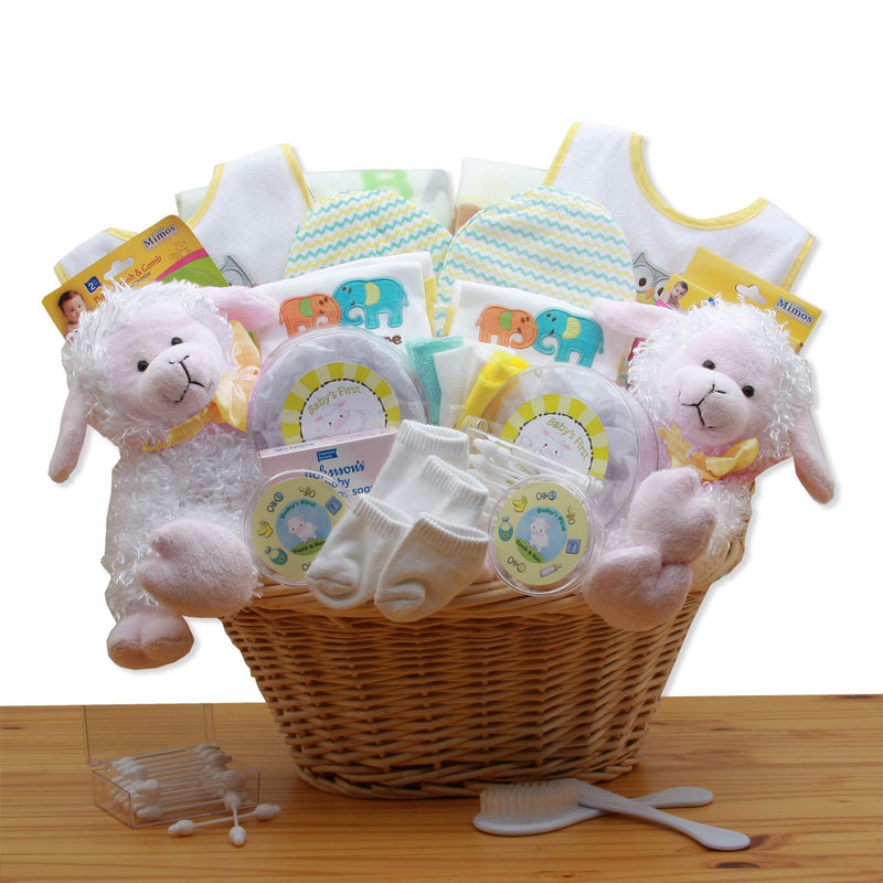 Double Delight Twins New Baby Gift Basket - Yellow