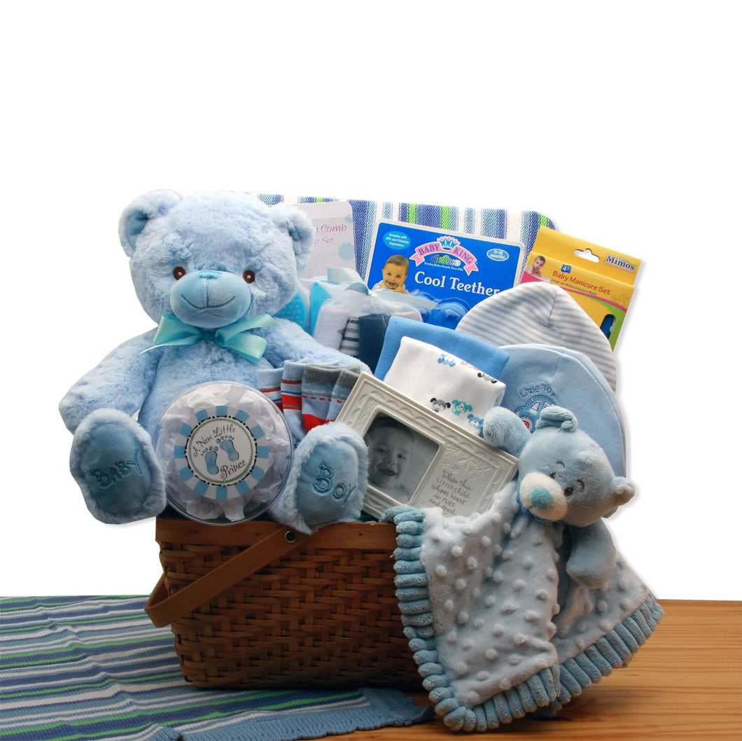My First Teddy Bear New Baby Gift Basket - Blue