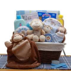 A New Little Monkey New Baby Gift Basket - Blue