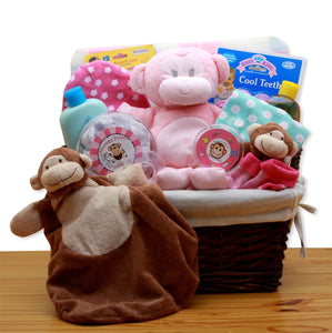 A New Little Monkey New Baby Gift Basket - Pink