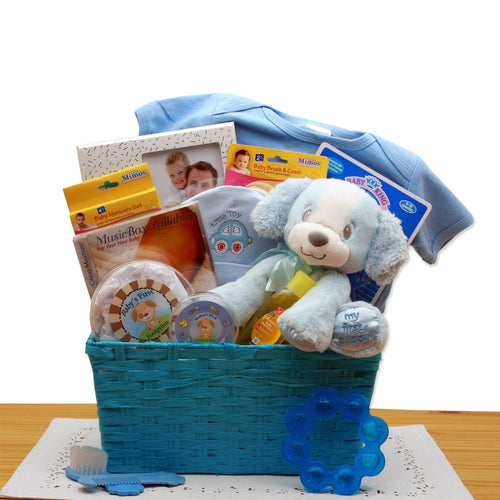 Puppy Love New Baby Gift Basket - Blue