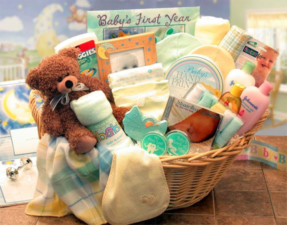 Deluxe Welcome Home Precious Baby Basket-Yellow/Teal