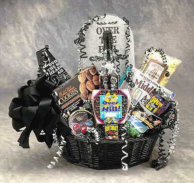 Over the Hill Birthday Gift Basket- Large Black