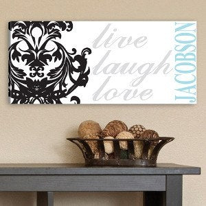 Personalized Live, Laugh, Love Volute Canvas Print