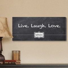 Chalkboard Style Live, Laugh, Love Personalized Canvas Print