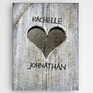Personalized Hand Carved Heart Canvas Sign