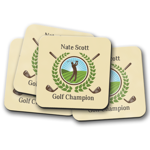Personalized Golf Champion Coaster Set
