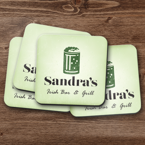 My Irish Bar & Grill Personalized Coaster Set