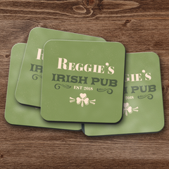 Established Irish Pub Personalized Coaster Set