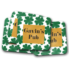 Lucky Clover Personalized Pub Coaster Set