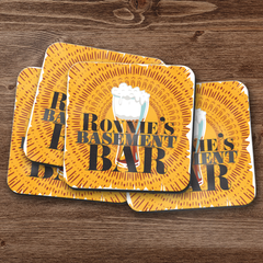Personalized Basement Bar Coaster Set