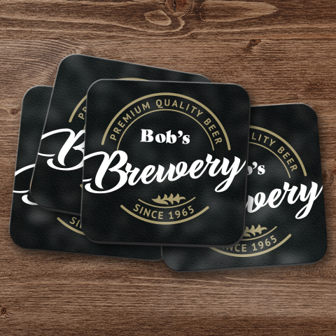 Basement Brewery Personalized Coaster Set