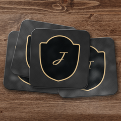Escutcheon Monogram Coaster Set