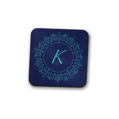 Blue Volute Monogram Coaster Set