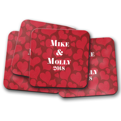 Happy Hearts Personalized Coaster Set