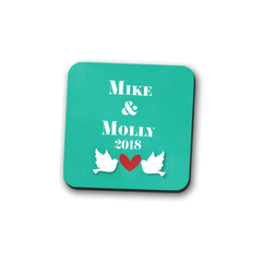 Love Birds Personalized Coaster Set