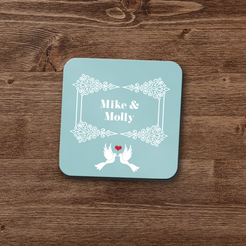 Palatial Lovey Dovey Personalized Coaster Set
