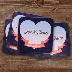 Celebrating Love in the Twilight Personalized Coaster Set