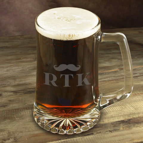 SavvyGifts Personalized Etched Mustache 25 oz. Mugs