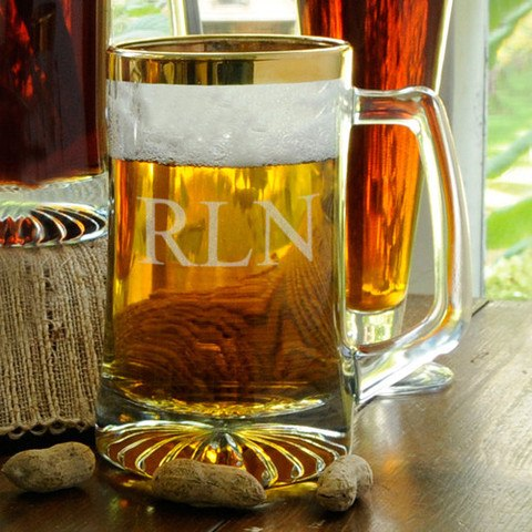 Personalized 25 oz. Gold Rimmed Sports Mug