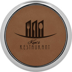 Hotel Katie Dark Brown Round Leatherette Coaster