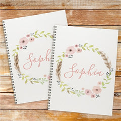 Personalized Flower Wreath Notebook Set