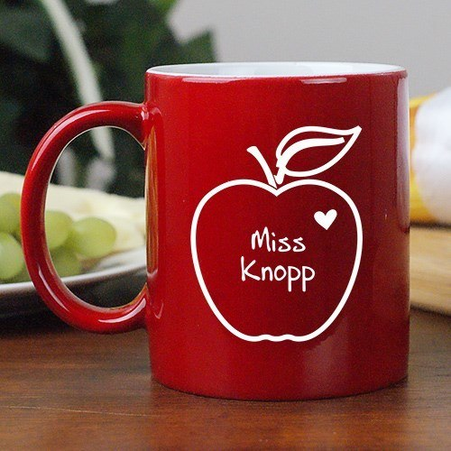 Personalized 11oz Teacher Coffee Mug - Apple of My Heart Design
