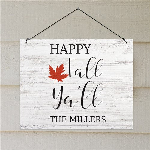 Personalized Happy Fall Y'all Wall Sign Decor