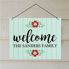Personalized Floral Welcome Wall Hanging